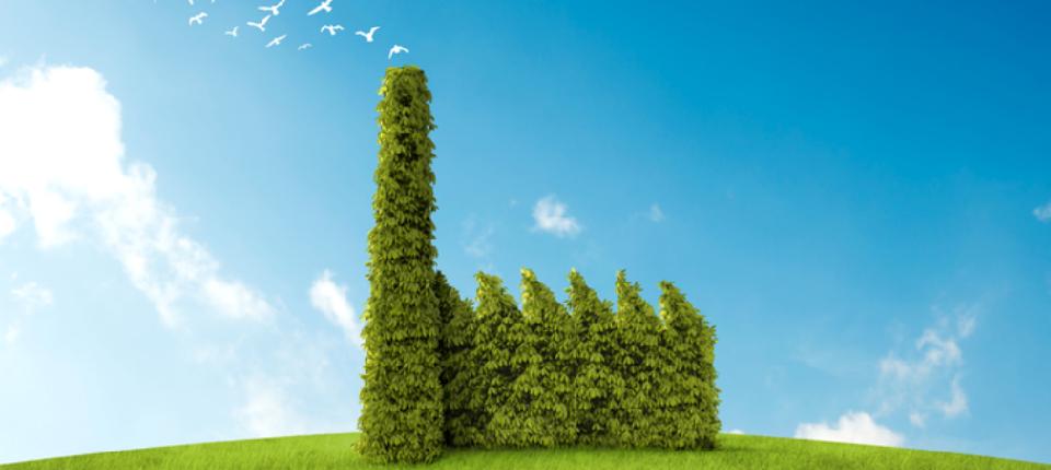 Illustration d'usine verte faite de branchage