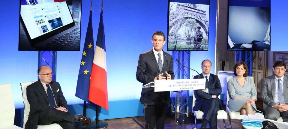 Le Premier ministre Manuel Valls pendant son discours au Comité interministériel pour la prévention de la délinquance et de la radicalisation