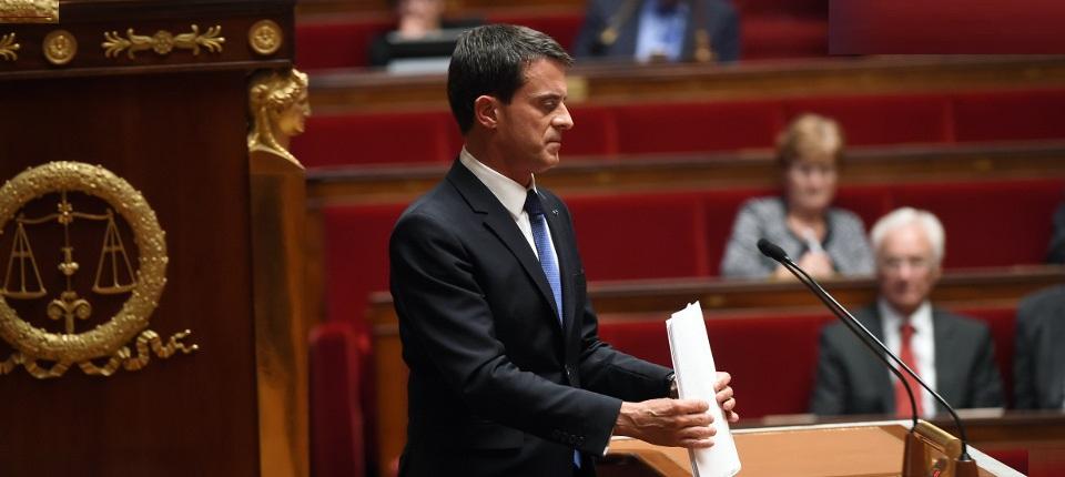 Le Premier ministre Manuel Valls à l'Assemblée nationale le 16 septembre 2015