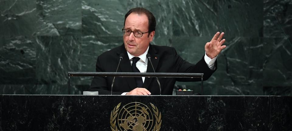 President Hollande speaking at UNGA