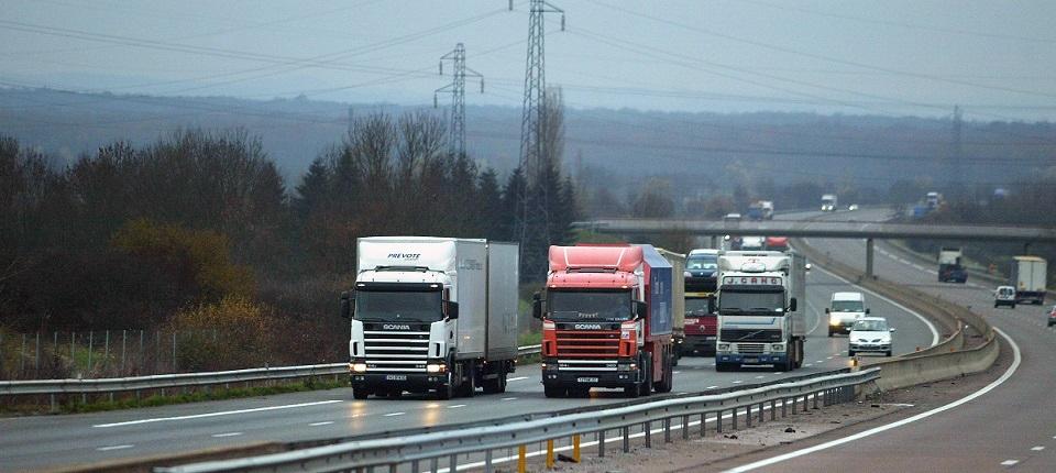 Trucks on a motorway