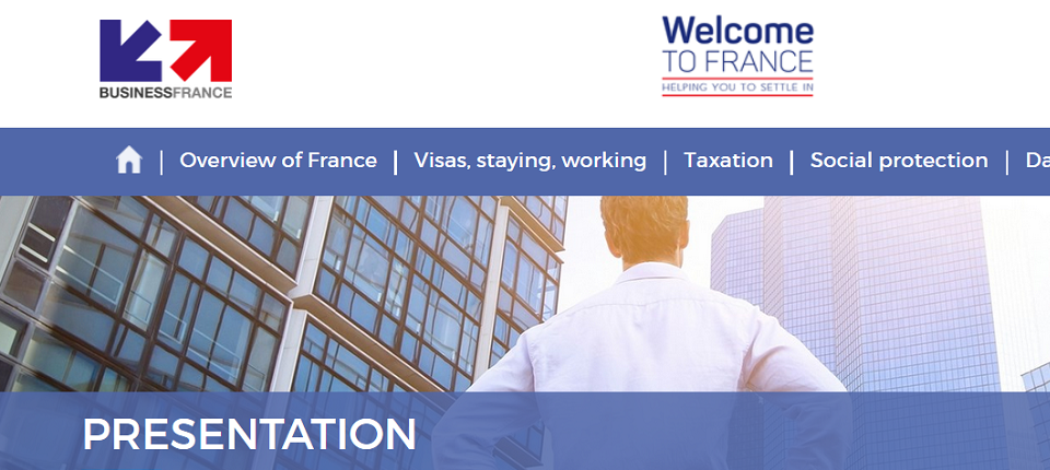 Homepeage of Welcome to France website