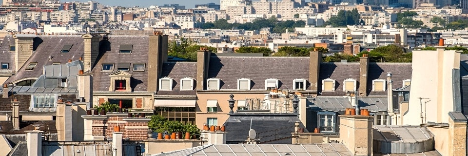View of a city's roofs