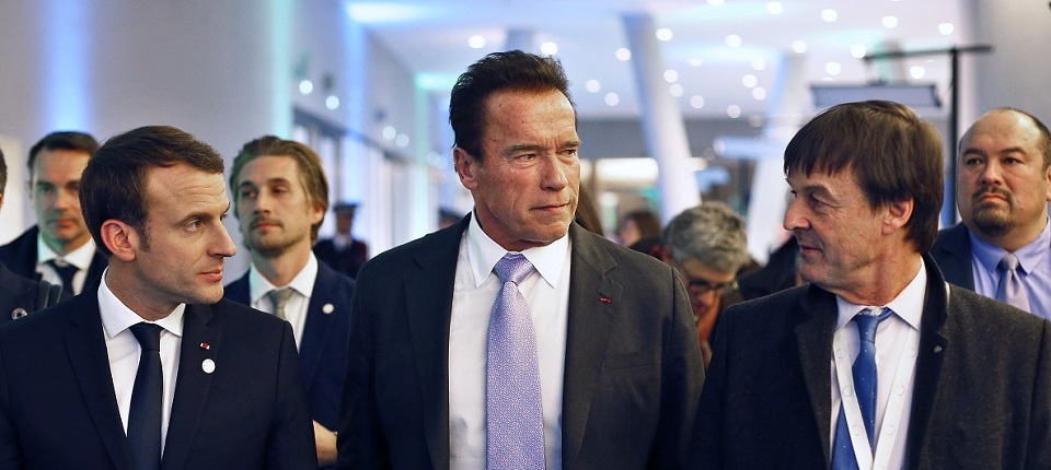 French President, A.Schwarzenegger and Minister Hulot - One Planet Summit