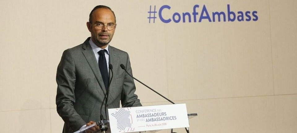 French PM speaking at the 2018 Ambassadors' Conference