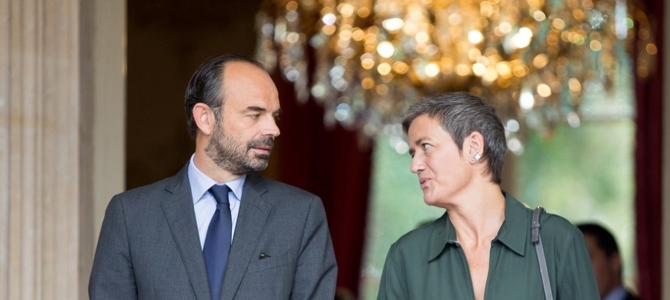 French PM and EU Commissioner Vestager