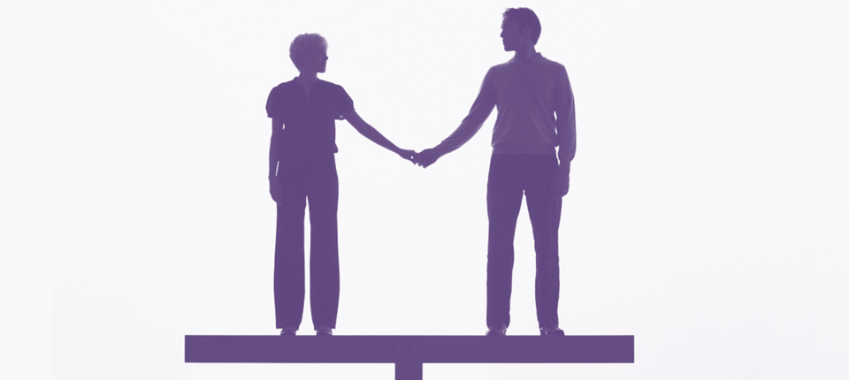 Woman and man on a balance