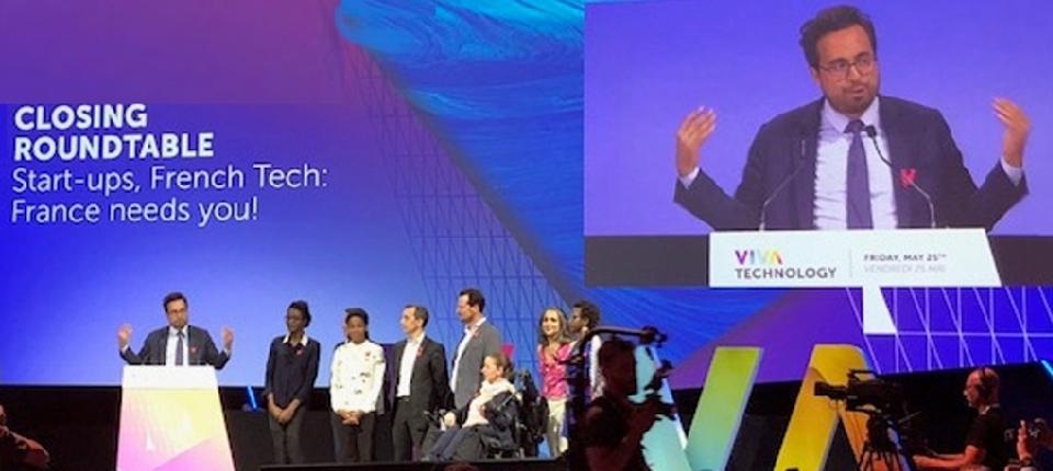 Minister Mounir Mahjoubi speaking at VivaTech fair