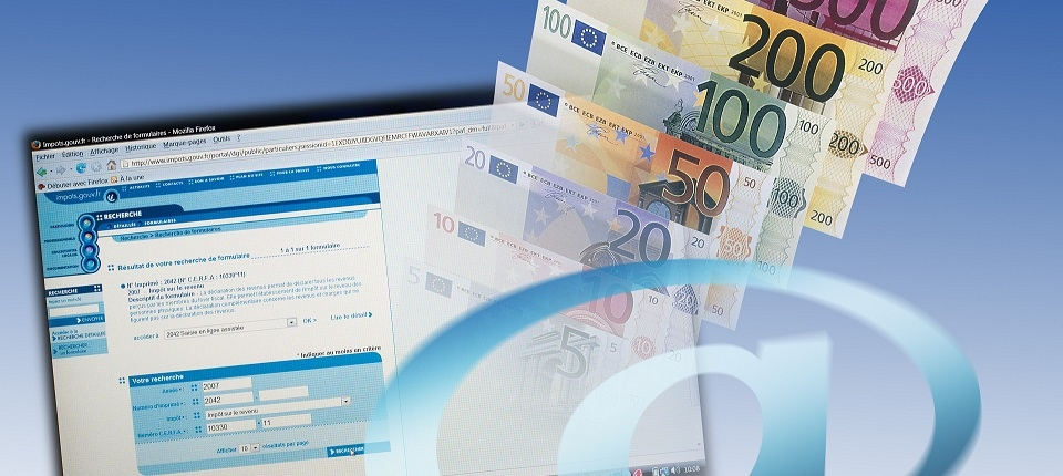 Euro bills, at-sign and electronic income tax form