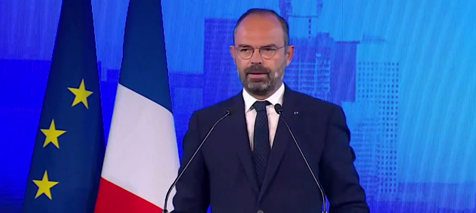 France's Prime Minister Edouard Philippe during his speech at Eruoplace
