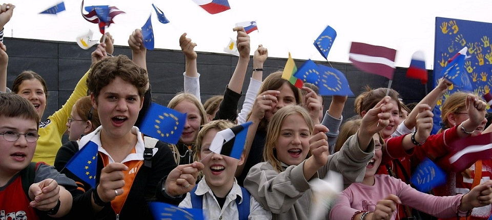 Children with European countries and EU flags