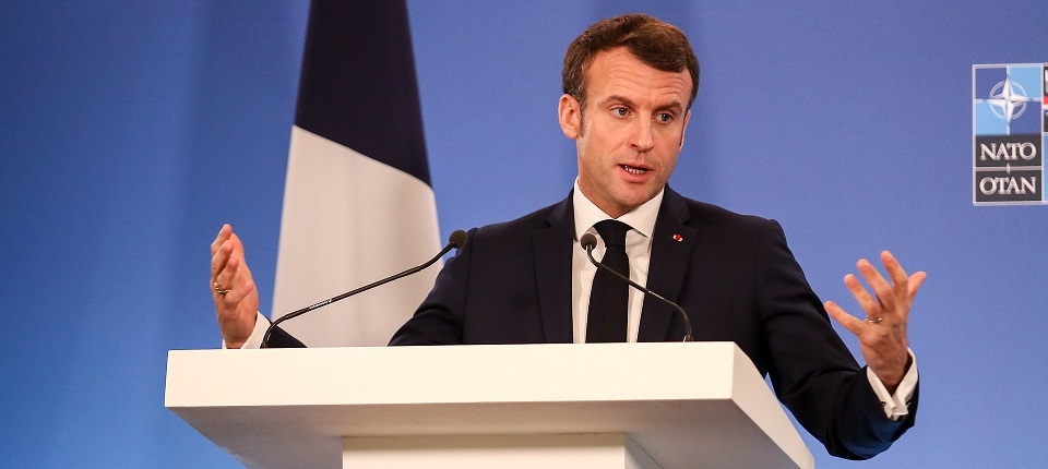 President Macron speaking at the 2019 NATO Summit