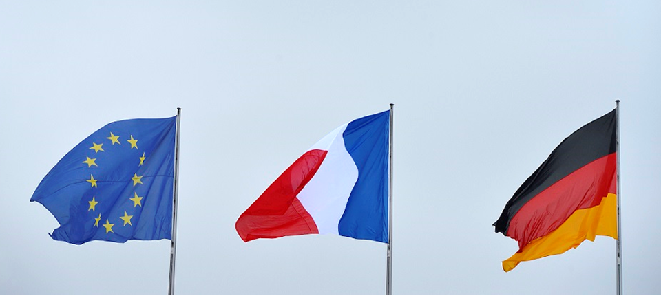 European, French and German flags