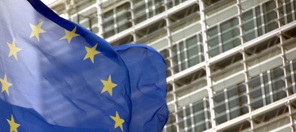 EU flag and European Commission building