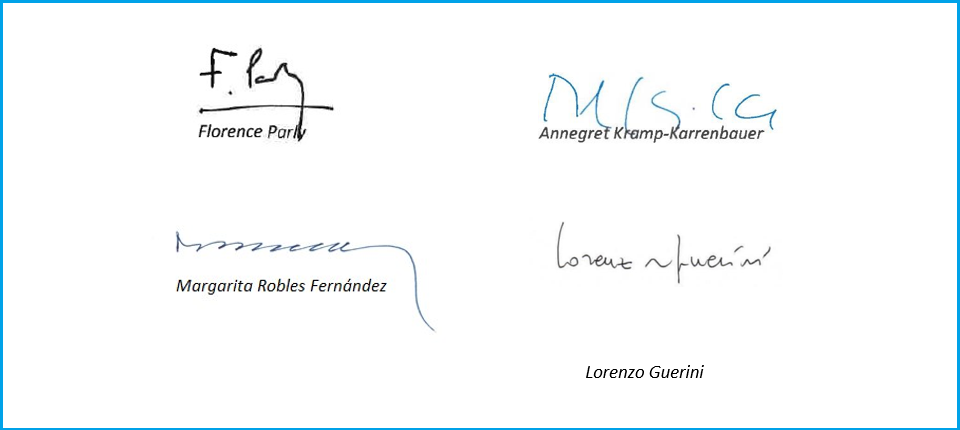 Signatures of the letter's signing defence ministers
