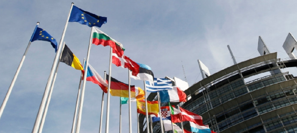 European Parliament and flags