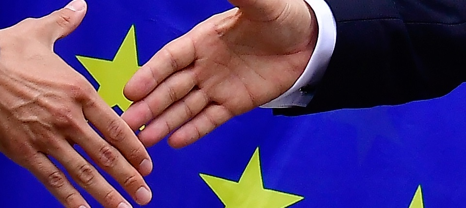 Shaking hands in front of European flag