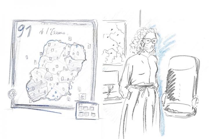 Caroline Wuattier et une carte de l'Essonne