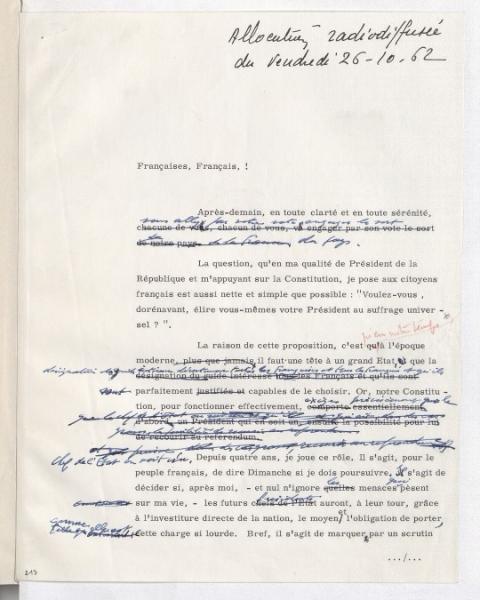 Allocution radiodiffusée du Général de Gaulle du 26 octobre 1962