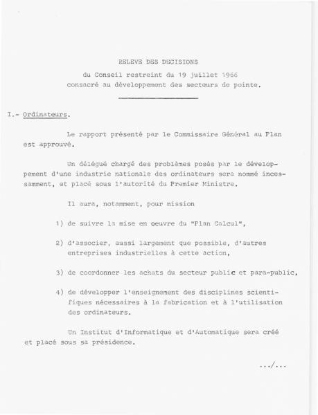 """Conseil restreint du 19 juillet 1966 approuvant le """"Plan Calcul"""""""