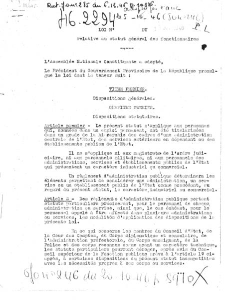 Loi du 19 octobre 1946 relative au statut général des fonctionnaires
