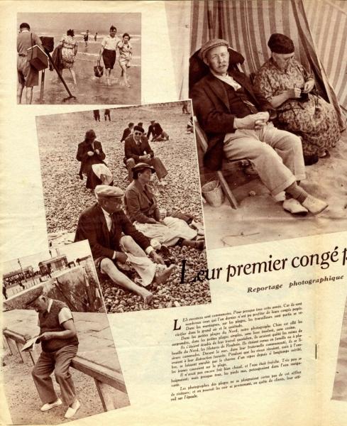 """""""Leur premier congé payé"""" - magazine """"regards"""" du 29 juillet 1937 (page intérieure)"""