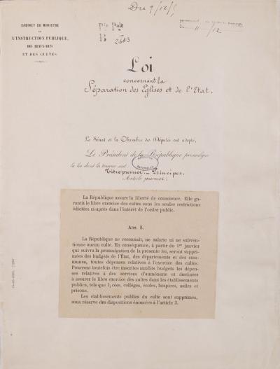 Promulgation de la loi concernant la séparation des églises et de l'état |  Gouvernement.fr
