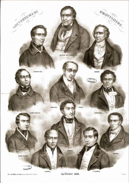 Lithographie représentant les membres du gouvernement provisoire en date du 24 février 1848