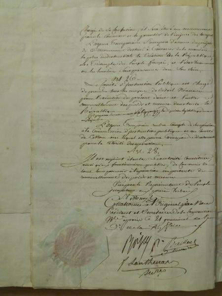 Original du décret du 18 germinal an III (7 avril 1795) – dernière page