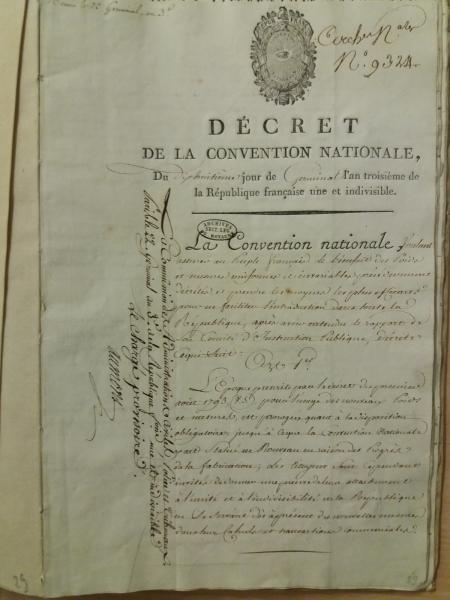 Original du décret du 18 germinal an III (7 avril 1795) – première page