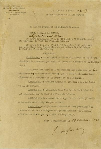 Ordonnance n° 7 créant l'ordre de la Libération