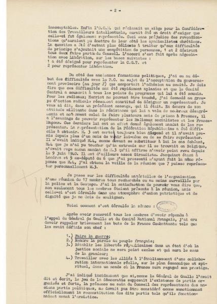 """Rapport du 4 juin 1943 de """"Rex"""", alias Jean Moulin, à André Philip"""