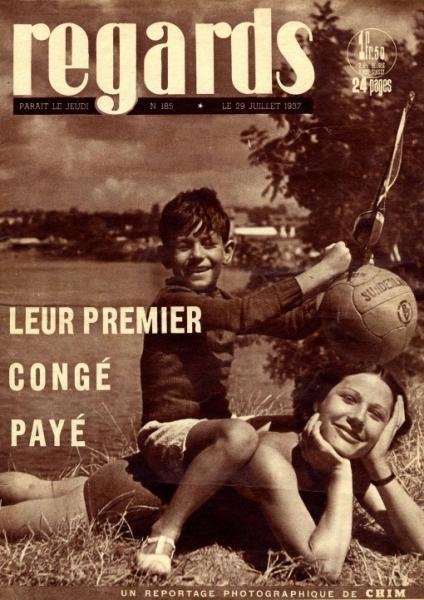 """""""Leur premier congé payé"""" - magazine """"regards"""" du 29 juillet 1937"""
