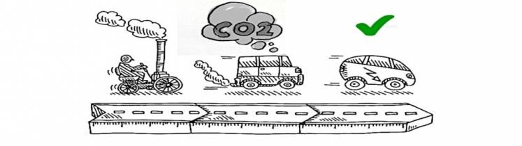 Dessin montrant la progression entre des véhicules polluants et un véhicule écologique