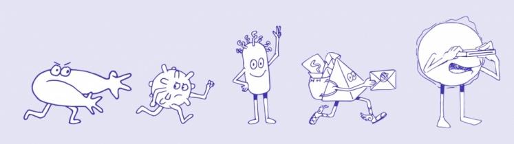 Les personnages de l'infographie sur l'ARN messager