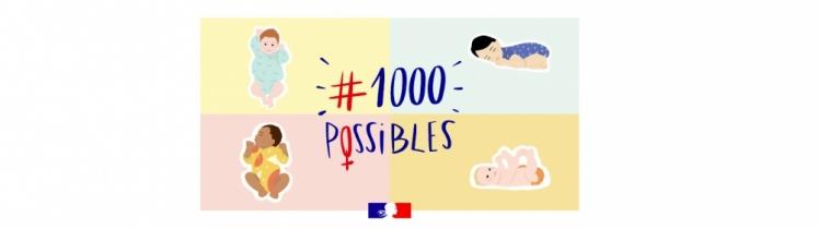 Des bébés et le logo de la campagne 1000 Possibles
