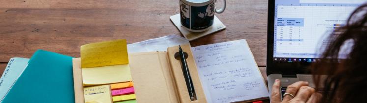Une entrepreneuse consulte ses comptes en ligne