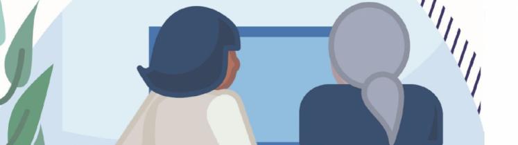 Illustration d'une conseillère numérique avec une personne âgée