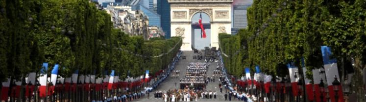 Les armées françaises défilant sur les Champs-Élysées le 14 juillet