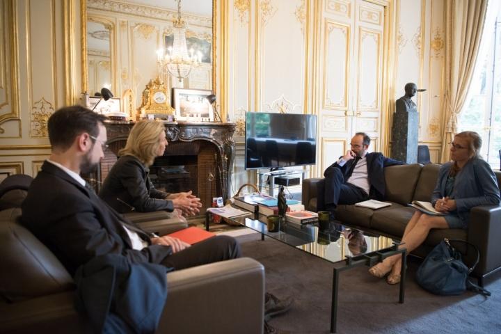 Édouard Philippe, reçoit  Isabelle Falque-Perrotin, présidente de la CNIL