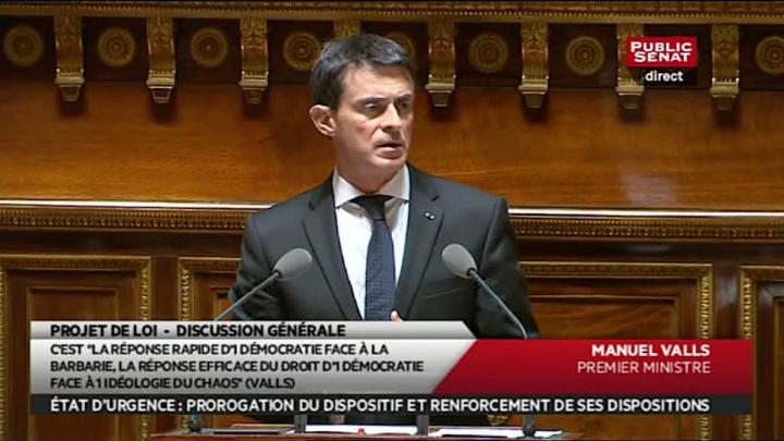 Prolongation de l'état d'urgence : discours de Manuel Valls devant le Sénat