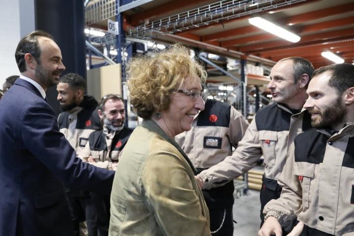Visite d'Édouard Philippe et Muriel Pénicaud à l'entreprise SNIE