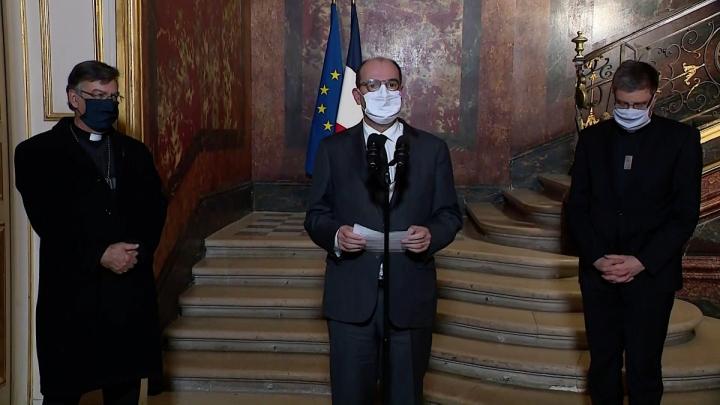 Déclaration du premier ministre Jean Castex avec le président de la Conférence des évêques de France et l'archevêque de Paris