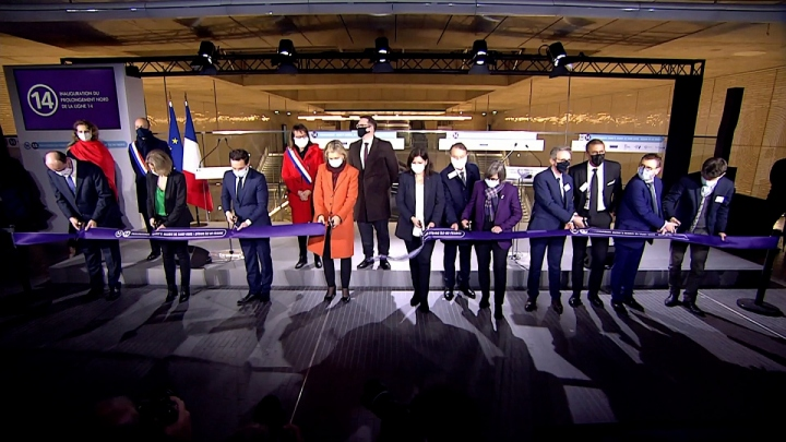 Inauguration de l'extension de la ligne 14 du métro de Paris