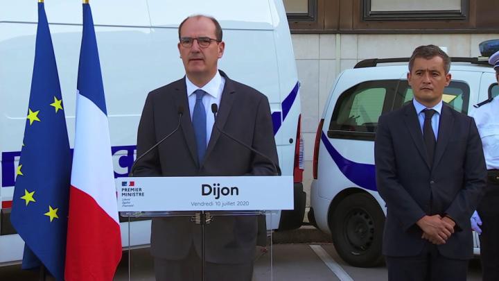 Déclaration de Jean Castex depuis l'hôtel de police de Dijon