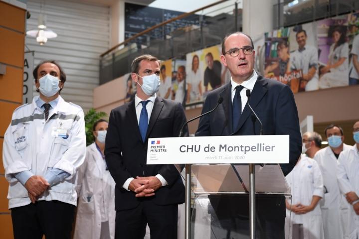 Fortes chaleurs et Covid-19 : déclaration de Jean Castex depuis le CHU de Montpellier